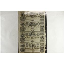 UNCUT SHEET OF 1800'S FRANKLIN SILK COMPANY
