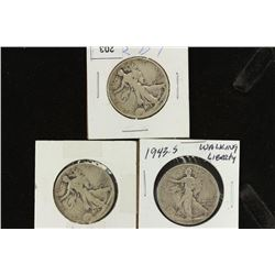 1939,42 & 43-S WALKING LIBERTY HALF DOLLARS