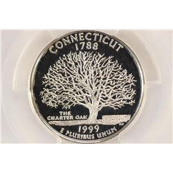 1999-S SILVER CONNECTICUT QUARTER PCGS PR69 DCAM