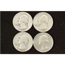 1945,1950,54 & 64-D WASHINGTON SILVER QUARTERS