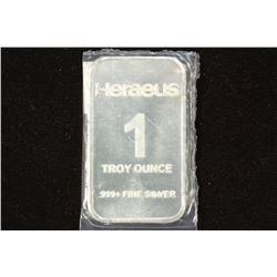 1 TROY OZ .999+ FINE SILVER PROOF BAR HERAEUS