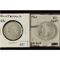 1954 & 1961 GUATEMALA SILVER 25 CENTAVOS