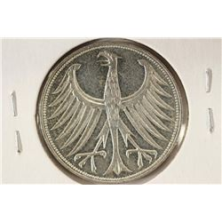 1969-D GERMAN SILVER 5 MARKS BU