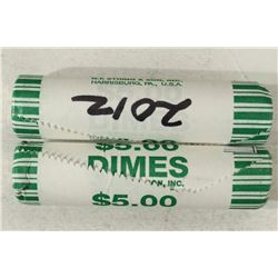 2-$5 ROLLS 2012-P ROOSEVELT DIMES BRILLIANT UNC