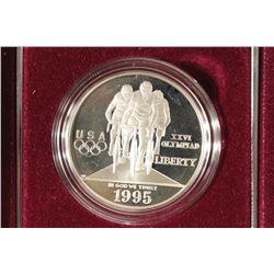 1995 US OLYMPIC CYCLIST PROOF SILVER DOLLAR