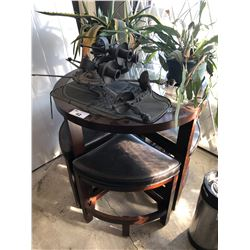 DARK WOOD & GLASS BAR HEIGHT TABLE WITH STOOLS