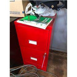 PAIR OF RED 2 DRAWER FILE CABINETS WITH KEY