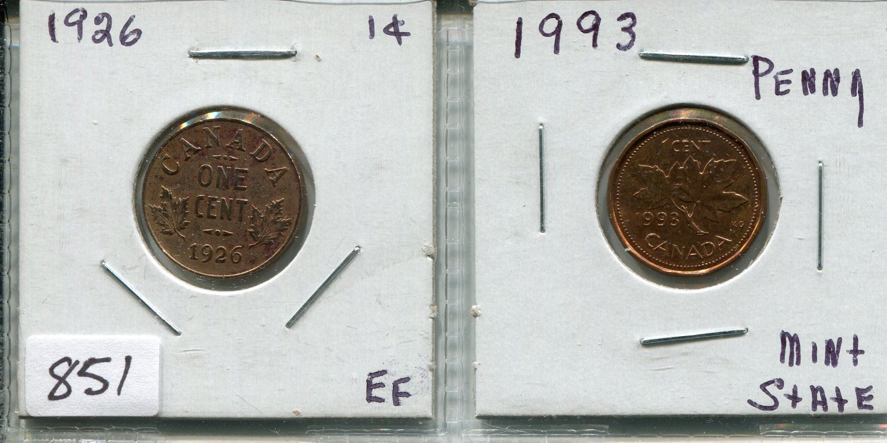 LOT OF 2 CNDN 1 CENT PCS (1926 & 1993)