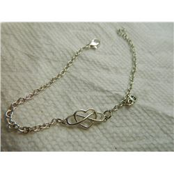 "FROM ESTATE - BRACELET  - SILVER - HEART & INFINITY - ""BF"" CHARM"