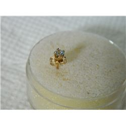 FROM ESTATE - EARRINGS - ONE 14K GOLD STUD EARRING W/ DIAMOND