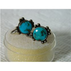 FROM ESTATE - EARRINGS - TURQUOISE IN STERLING SILVER SETTING - SCREW BACKS