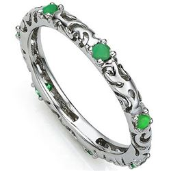 RING - 0.308 CARAT TW (7 PCS) GENUINE EMERALD IN PLATINUM OVER 0.925 STERLING SILVER SETTING - SZ 7