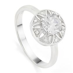 RING - 4/5 CARAT WHITE TOPAZ & GENUINE DIAMONDS IN 925 STERLING SILVER SETTING - SZ 8 - RETAIL ESTIM