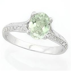 RING - 1 CARAT GREEN AMETHYST & DIAMONDS IN 925 STERLING SILVER SETTING -  SZ 7 - RETAIL ESTIMATE $4