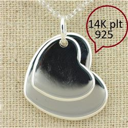 *** NEW*** PENDANT - LOOSE DOIBLE HEART -14K WHITE GOLD OVER 925 STERLING SILVER - RETAIL ESTIMATE $
