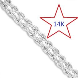 *** NEW*** CHAIN -  18 INCHES 0.5MM 14KT WHITE SOLID GOLD ROPE CHAIN - RETAIL ESTIMATE $1500