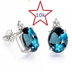 *** NEW*** EARRINGS - SMASHING 4.52 CT LONDON BLUE TOPAZ & 6 PCS GENUINE DIAMOND IN 10K SOLID WHITE