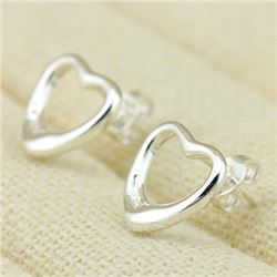 *** NEW*** EARRINGS - OPEN HEARTS - 14K WHITE GOLD OVER 925 STERLING SILVER - RETAIL ESTIMATE $150