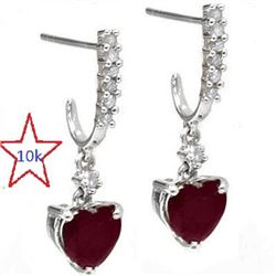 *** NEW*** EARRINGS - CLASSIC 2.35 CARAT TW GENUINE HEART FACETED RUBY & 16 GENUINE DIAMONDS IN 10K
