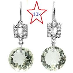 *** NEW *** EARRINGS - PRETTY 6.46 CT GREEN AMETHYST & 16 GENUINE DIAMONDS IN 10K SOLID WHITE GOLD S