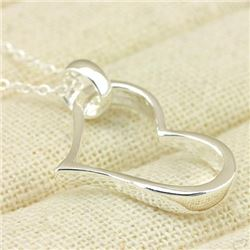 *** NEW*** PENDANT - OPEN HEART - 14K WHITE GOLD OVER 925 STERLING SILVER - RETAIL ESTIMATE $150