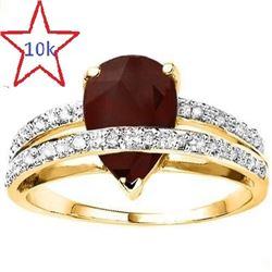 *** NEW *** - RING - CLASSIC 2.51 CT GENUINE RUBY & 20 GENUINE DIAMONDS IN 10K SOLID YELLOW GOLD SET