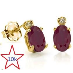 *** NEW *** EARRINGS - GORGEOUS 1.16 CT GENUINE RUBY & 2 GENUINE DIAMONDS 10K SOLID YELLOW GOLD SETT