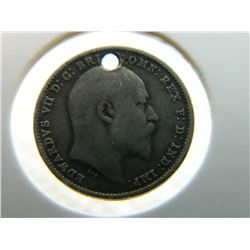 COIN - KING EDWARDS VII - 3 PENCE - 1902 - HOLE