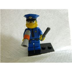 LEGO MINI FIGURE - BART SIMPSON FIGURE - POLICEMAN  WITH STAND & MEGA PHONE & BATTON