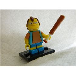LEGO MINI FIGURE - BART SIMPSON FIGURE - WITH STAND & BASEBALL BAT
