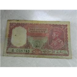 PAPER NOTE - BURMA - RESERVE BANK OF INDIA - 5 RUPEE - 1938