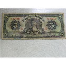 PAPER NOTE - CINCO - 5 PESO - BANCO DE MEXICO - - as-is1963