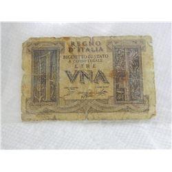 PAPER NOTE - ITALY - VNA 1 LIRE - REGNO D'ITALIA BIGLIETTO DI STATO A CORSO LEGALE - 1939