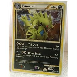 POKEMON COLLECTOR CARD IN PROTECTIVE SLEEVE - TYRANITAR STAGE 2 HOLO - 26/95