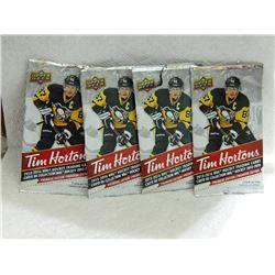 TIM HORTONS UPPER DECK PACKS - OPEN - 4 PKS TTL 3 CARDS IN EACH PACK