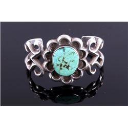 Navajo Old Pawn Sand Cast Silver Bracelet