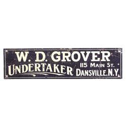 Early 1900's Undertaker Sign Dansville New York