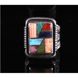 Zuni Signed Sterling Silver Mosaic Inlay Ring