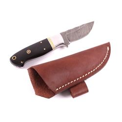 CFK Damascus Buffalo Horn Knife w/ Scabbard