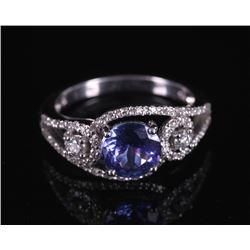 Tanzanite and Diamond 18k White Gold Ring