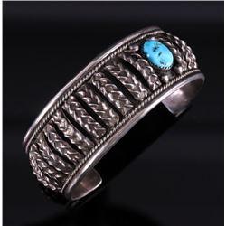 Navajo Sleeping Beauty Silver Bracelet - Signed