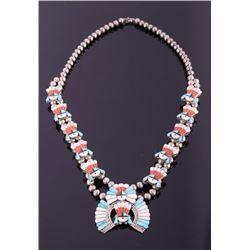 Zuni Sterling Silver Mosaic Inlay Squash Blossom