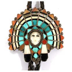 Zuni Mosaic Inlay Chief's Head Bolo Tie