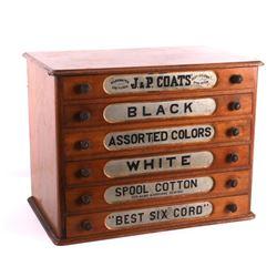 Antique J&P Coats Cherry Wood Spool Cabinet c.1890