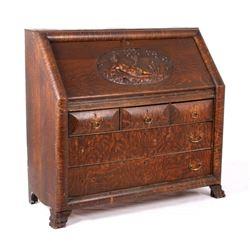 Art Nouveau Nude Carved Oak Drop Front Secretary
