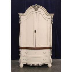 Victorian Style Oak Two Part Armoire Dresser
