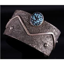 Signed Navajo Kingman Turquoise Bracelet