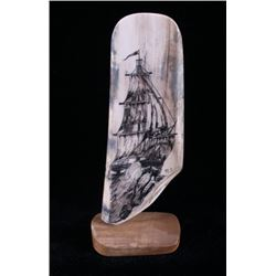 Ancient Wooly Mammoth Tusk Scrimshaw