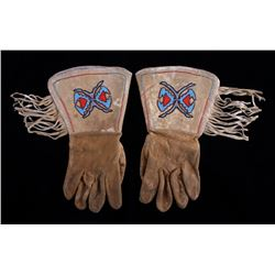 Blackfeet Beaded Gauntlet Gloves c. 1950's