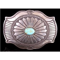 Signed Navajo Royston Turquoise Silver Belt Buckle